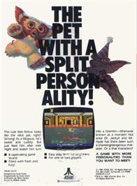 Box back cover for Gremlins on the Atari 2600.
