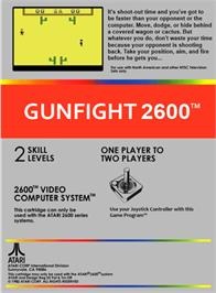 Box back cover for Gunfight on the Atari 2600.