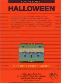 Box back cover for Halloween on the Atari 2600.