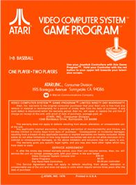 Box back cover for Home Run on the Atari 2600.