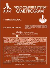 Box back cover for Human Cannonball on the Atari 2600.