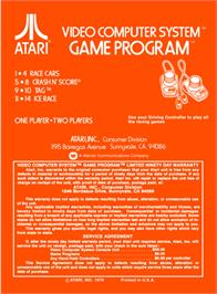 Box back cover for Indy 500 on the Atari 2600.