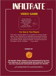 Box back cover for Infiltrate on the Atari 2600.
