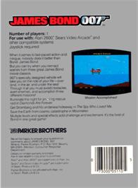 Box back cover for James Bond 007 on the Atari 2600.