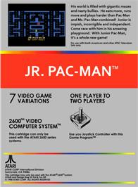 Box back cover for Jr. Pac-Man on the Atari 2600.