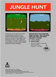 Box back cover for Jungle Hunt on the Atari 2600.