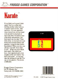 Box back cover for Karate on the Atari 2600.