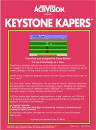 Box back cover for Keystone Kapers on the Atari 2600.