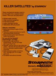 Box back cover for Killer Satellites on the Atari 2600.