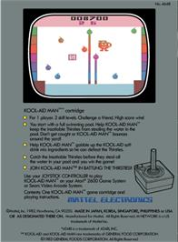 Box back cover for Kool-Aid Man on the Atari 2600.