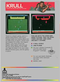 Box back cover for Krull on the Atari 2600.