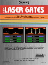Box back cover for Laser Gates on the Atari 2600.