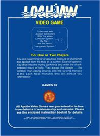 Box back cover for Lochjaw on the Atari 2600.