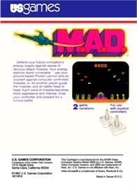 Box back cover for M.A.D. on the Atari 2600.