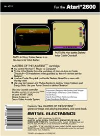Box back cover for Masters of the Universe: The Power of He-Man on the Atari 2600.