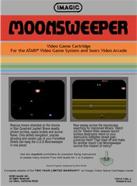 Box back cover for Moonsweeper on the Atari 2600.