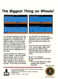 Box back cover for MotoRodeo on the Atari 2600.