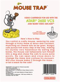 Box back cover for Mouse Trap on the Atari 2600.