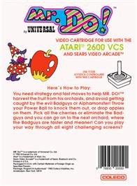 Box back cover for Mr. Do! on the Atari 2600.