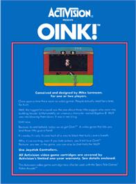 Box back cover for Oink! on the Atari 2600.