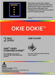 Box back cover for Okie Dokie on the Atari 2600.