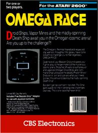 Box back cover for Omega Race on the Atari 2600.