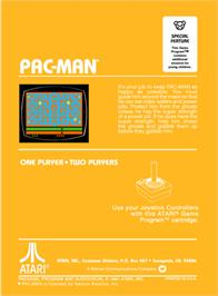 Box back cover for Pac-Man on the Atari 2600.