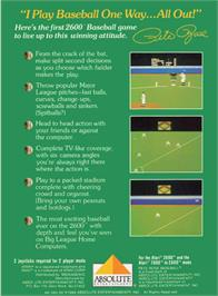 Box back cover for Pete Rose Pennant Fever on the Atari 2600.