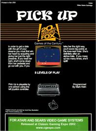 Box back cover for Pick Up on the Atari 2600.