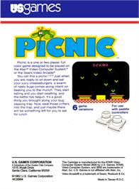 Box back cover for Picnic on the Atari 2600.