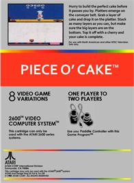 Box back cover for Piece o' Cake on the Atari 2600.