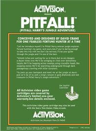 Box back cover for Pitfall! on the Atari 2600.