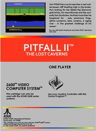 Box back cover for Pitfall II: Lost Caverns on the Atari 2600.