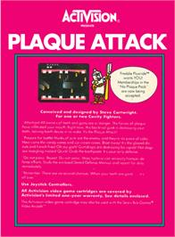 Box back cover for Plaque Attack on the Atari 2600.