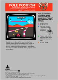 Box back cover for Pole Position on the Atari 2600.