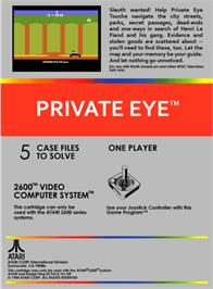 Box back cover for Private Eye on the Atari 2600.