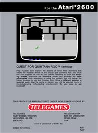 Box back cover for Quest for Quintana Roo on the Atari 2600.