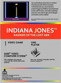 Box back cover for Raiders of the Lost Ark on the Atari 2600.