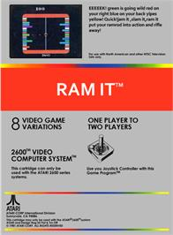 Box back cover for Ram It on the Atari 2600.