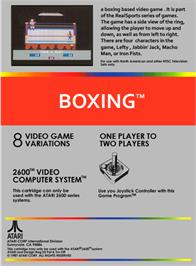 Box back cover for RealSports Boxing on the Atari 2600.