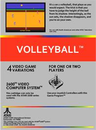 Box back cover for RealSports Volleyball on the Atari 2600.