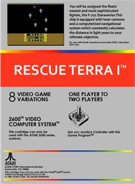 Box back cover for Rescue Terra I on the Atari 2600.