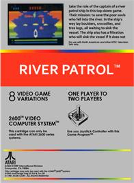 Box back cover for River Patrol on the Atari 2600.