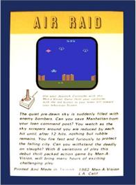 Box back cover for River Raid on the Atari 2600.