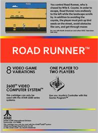 Box back cover for Road Runner on the Atari 2600.