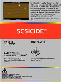 Box back cover for SCSIcide on the Atari 2600.
