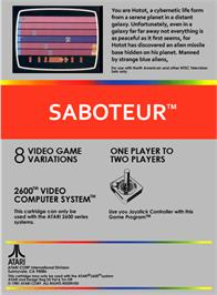 Box back cover for Saboteur on the Atari 2600.