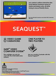 Box back cover for Seaquest on the Atari 2600.
