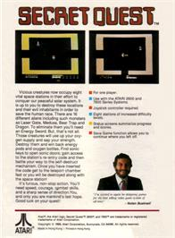 Box back cover for Secret Quest on the Atari 2600.