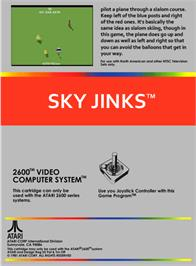 Box back cover for Sky Jinks on the Atari 2600.
